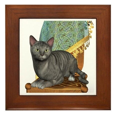 Cat (Silver Tabby) Framed Tile