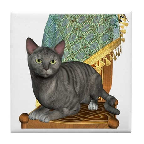 Cat (Silver Tabby) Tile Coaster
