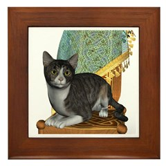 Cat (Grey Tabby) Framed Tile