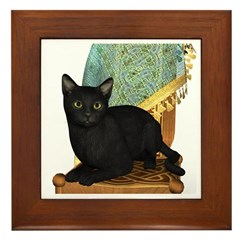 Cat (Black) Framed Tile