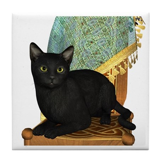 Cat (Black) Tile Coaster