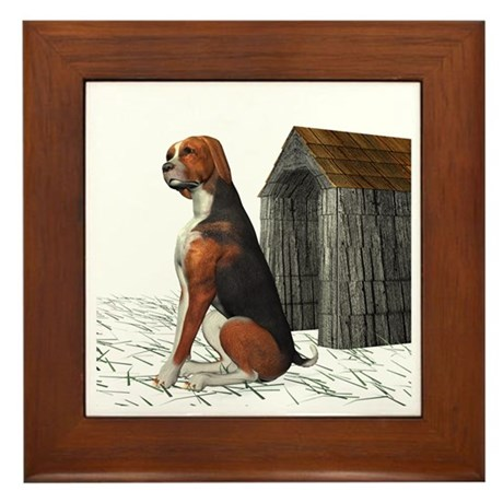 Dog (Hound Black N Tan) Framed Tile