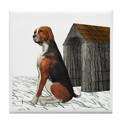 Dog (Hound Black N Tan) Tile Coaster