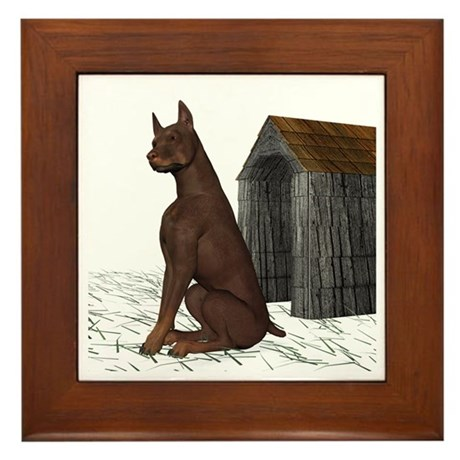 Dog (Red Doberman) Framed Tile