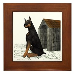 Dog (Black Doberman) Framed Tile
