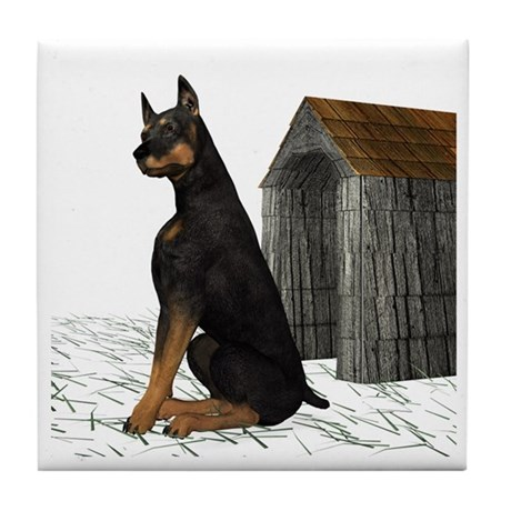 Dog (Black Doberman) Tile Coaster
