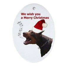 Cute Doberman american Oval Ornament