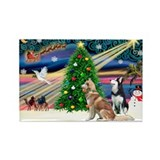 XmasMagic/2 Huskies Rectangle Magnet (10 pack)