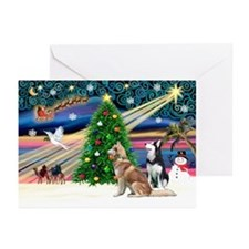 XmasMagic/2 Huskies Greeting Cards (Pk of 10)