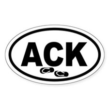 ACK Nantucket Flip Flops Oval Decal
