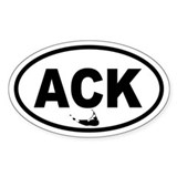 ACK Nantucket Map Oval Decal