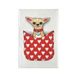 Red Pocket Chihuahua Rectangle Magnet
