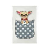Blue Pocket Chihuahua Rectangle Magnet