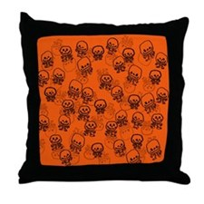 Orange skeletons Throw Pillow