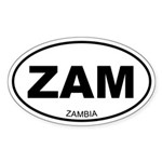 Zambia Oval Sticker