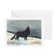 Snowdusted Wolf Personalize Greeting Cards (10)