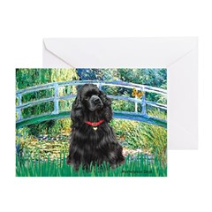 Bridge / Black Cocker Spaniel Greeting Card