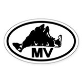 Martha's Vineyard MV Map Oval Decal