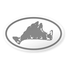 Martha's Vineyard Map Oval Decal