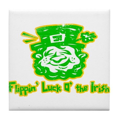 Flippin' Luck O' the Irish Tile Coaster