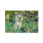 Irises / Westie Rectangle Magnet