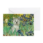 Irises / Westie Greeting Cards (Pk of 20)