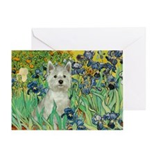 Irises / Westie Greeting Card