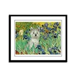 Irises / Westie Framed Panel Print