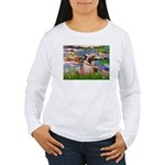 Lilies (#2)/Pug (#2) Women's Long Sleeve T-Shirt