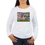 Lilies (#2)/Pug (#2) Women's Long Sleeve T-Shirt