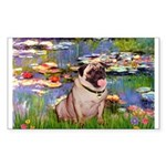 Lilies (#2)/Pug (#2) Sticker (Rectangle)