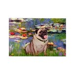 Lilies (#2)/Pug (#2) Rectangle Magnet (10 pack)