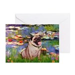 Lilies (#2)/Pug (#2) Greeting Cards (Pk of 10)