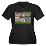 Lilies / M Schnauzer Women's Plus Size V-Neck Dark