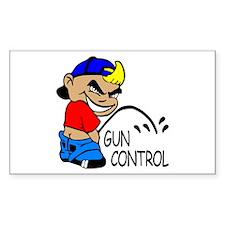 P On Gun Control Rectangle Decal
