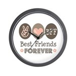 Peace Love BFF Friendship Wall Clock