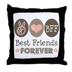 Peace Love BFF Friendship Throw Pillow