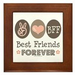 Peace Love BFF Friendship Framed Tile