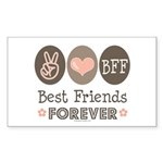 Peace Love BFF Friendship Rectangle Sticker