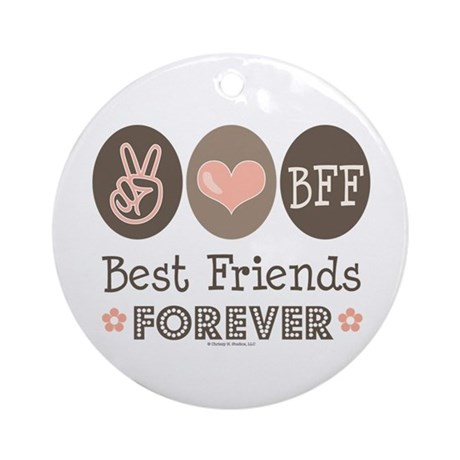 Peace Love BFF Friendship Ornament (Round)