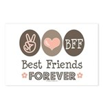 Peace Love BFF Friendship Postcards (Package of 8)