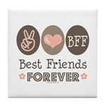 Peace Love BFF Friendship Tile Coaster