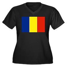 Romania Women's Plus Size V-Neck Dark T-Shirt