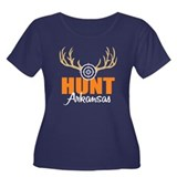 Hunt Arkansas Women's Plus Size Scoop Neck Dark T-