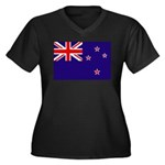 New Zealand Women's Plus Size V-Neck Dark T-Shirt