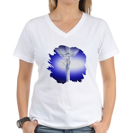 Jesus on Cross Women's V-Neck T-Shirt