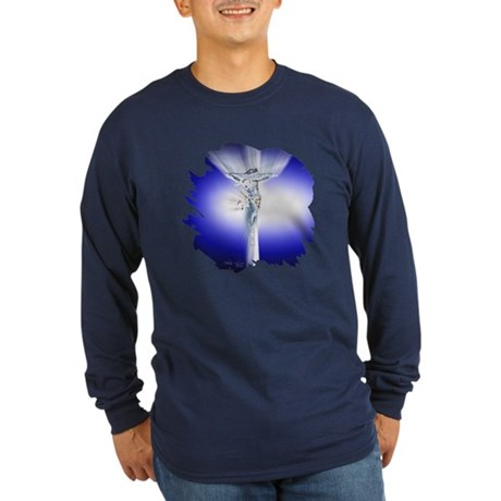 Jesus on Cross Long Sleeve Dark T-Shirt