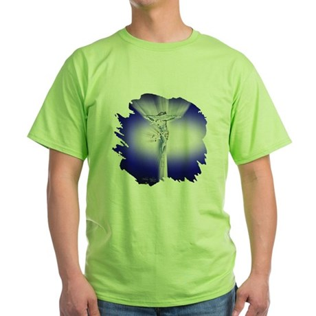 Jesus on Cross Green T-Shirt