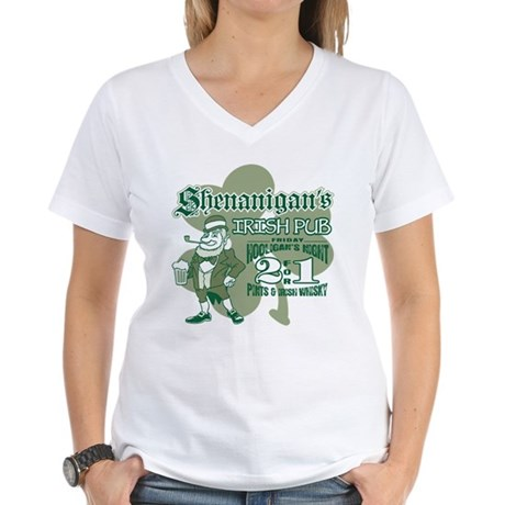 Shenanigan's Irish Pub (light Women's V-Neck T-Shi