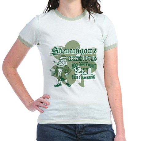 Shenanigan's Irish Pub (light Jr. Ringer T-Shirt